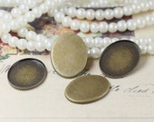 50pcs Antique Bronze Filigree Oval Base Settings With 13x18mm Cameo Or Cab