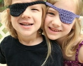 black crocheted pirate eye patch for kids by yourmomdesigns(rts)