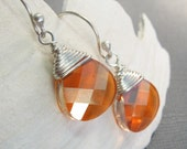 Droplet Chili Pepper Wire Wrapped Sterling Silver Swarovski Earrings - SSW