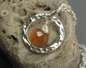 Last Chance Sale - Hint of  Carnelian Necklace Teardrop Carnelian Briolette Wire Wrapped with Hammered Ring Pendant - NSA