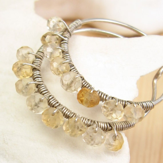 Citrine Rondelle Sterling Silver Hoop Earrings - MAMI-E
