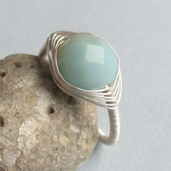 Adjustable Amazonite Sterling Wrapped Ring - RSS