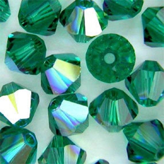 Swarovski crystal 8mm Emerald Green AB bicones 5301 5328