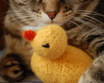 Rubber Ducky Cat Toy - Hand Knit Wool Felted Cat Toy with Organic Catnip