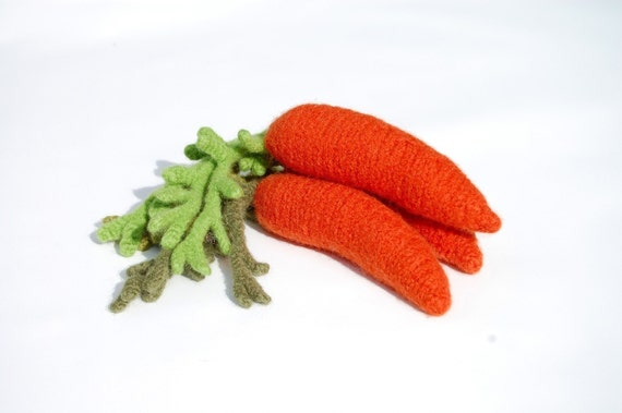 Carrot Cat Toy - Hand Knit and Boil Felted with Organic Catnip VERY DURABLE