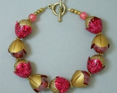 Vintage Japanese Ruby Red Retro Lucite Bead Bracelet,German Gold Lucite Flower Bead Caps