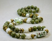 VINTAGE BEAD NECKLACE Eden - Green Jasper, Chinese Flower Porcelain, Snow Quartz