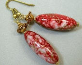 Vintage Japanese Red Gold Oval Lucite Splatter Bead Earrings, Vintage Gold Bead - Hiiro Cherry