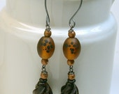 Vintage Black Obsidian Oval Twist Stone Bead Earrings, Vintage Japanese Amber Glass, Sterling Silver