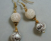 Deco Snow Vintage Earrings -Japanese White Sugar Beads, Lucite Flowers