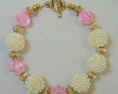 Vintage Japanese Iridescent White Berry Bead Bracelet, Vintage German 1950s Gold Glass, Vintage Pink Lucite Beads