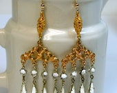 Symphony Hall Vintage Bead Chandelier Earrlngs - Rhinestones,Deco Gold