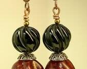 Vintage Bead Earrings Garnet Red Lucite, Carved Black Onyx
