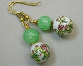 Vintage Chinese White Pink Porcelain Peaches Bead Earrings ,Vintage 1940s Japanese Handmade Green Glass Beads
