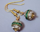 Vintage 1940 Emerald Green Rhinestone Bead Earrings,Gold