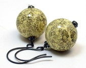 Vintage Japanese Dangle Drop Bead Earrings -Yellow Black Lace Lucite Globe ,Oxidized Sterling Silver Ear Wires - GIFT WRAPPED