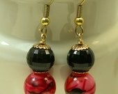 Vintage Japanese Picasso Red Black Lucite Bead Earrings, Gold