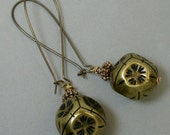 Vintage Etched Faceted Brass Flower Bead Earrings,Long Brass Kidney Ear Wire