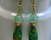 Vintage Teal Green Handmade Paper Bead Earrings, Vintage German Aqua Faceted Lucite