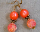 Vintage 1950s Coral Moonglow Bead Earrings , Vintage 1950s Pink Lucite Rose Flowers, Gold
