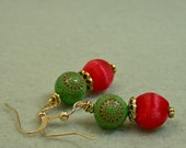 Vintage Japanese Red Silk Bead Earrings, German 1950s Green Etched Lucite Flower Beads