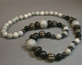 Vintage Bead Foxy Necklace - Vintage White Howlite,Gray Hematite, Marble