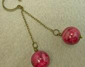 Vintage Cherry Pink Valentine Swirl Lucite Bead Earrings, Brass - Akatsuki