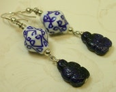 Vintage Buddha Sodalite Blue 1950s Pressed Glass Bead Earrings, Chinese White Lapis Porcelain,Silver