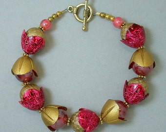 Vintage Japanese Ruby Red Lucite Bead Bracelet , Vintage German Gold Red Lucite Flower Retro Bead Caps- GIFT WRAPPED