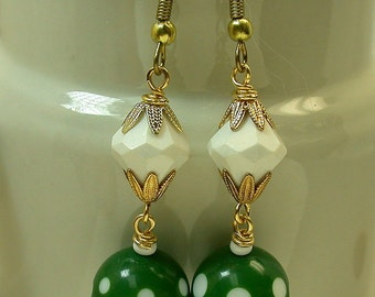 Vintage Retro Green White Polka Dot Bead Dangle Drop Earrings ,Vintage Gold Bead Caps, Brushed Yellow Brass Ear Wires -GIFT WRAPPED