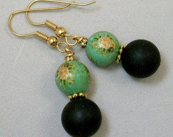 Vintage Japanese Tensha Dangle Drop Turquoise Pink Flower Bead Earrings, Black Crystal Beads - Kobe Nights