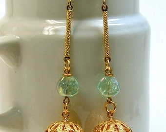 Vintage German Glass Long Mint Green Iridescent Bead Dangle Drop Earrings,Vintage Gold Plated Filigree Bead-GIFT WRAPPED JEWELRY