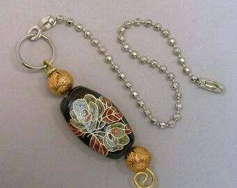 Vintage Japanese Tensha Black Fan Light Pull Gold Rose Bead, Vintage Gold Plated Brass Beads