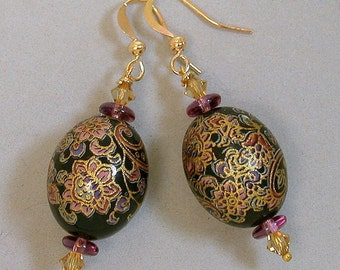 Vintage Black Pink Paisley Japanese Tensha Bead Earrings, Swarovski Crystal -Nishiki Tapestry
