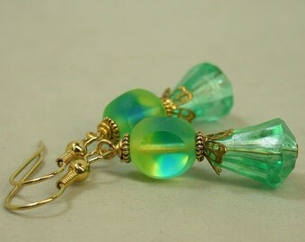 Vintage Turquoise Lime Green Cathedral Glass Bead Earrings, Gold