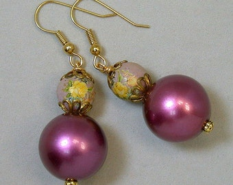 Vintage Japanese Tensha Bead Pink Yellow Rose Dangle Drop Earrings, Vintage German Plum Purple Lucite Pearl,Gold Ear Wires - GIFT WRAPPED