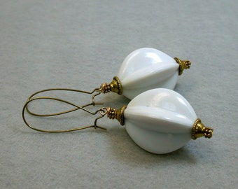 Vintage Japanese Lucite Bead White Pinched Melon Dangle Drop Earrings, Brass Long Kidney Ear Wires - GIFT WRAPPED