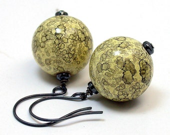 Vintage Japanese Yellow Black Lace Lucite Globe Bead Earrings ,Oxidized Sterling Silver