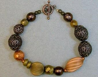 Vintage Japanese Copper Bead Bracelet , Vintage German Glass Beads Gold Bronze Glass,Vintage Filigree Brass Beads