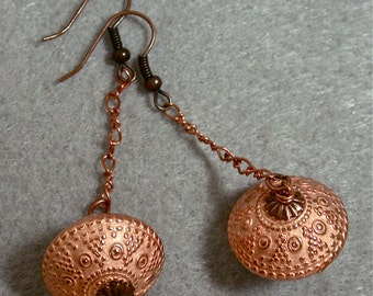 Vintage Japanese Copper Lucite Dangle Drop Etched Abacus Bead Earrings, Long Copper Chain