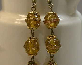 Vintage Yellow Aventurina Dangle Drop Glass Long Bead Italian Earrings