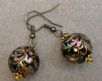 Vintage Japanese Tensha Bead Earrings Black Turquoise Copper Iridescent