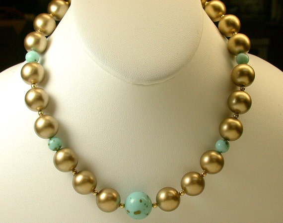 vintage bead necklace glitter lucite pearls japanese