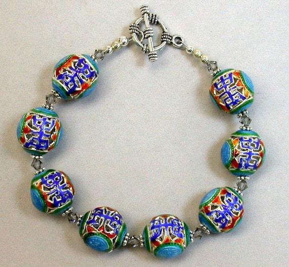 Vintage Bead Bracelet Qingming - Lapis Blue Turquiose Cloisonne