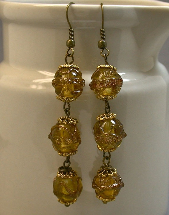 Ribbons of Gold Vintage Bead Earrings - Italian Amber Yellow Aventurina Glass