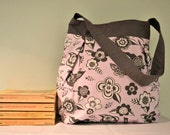 Pink and Grey Butterfly and Bird Shoulder Bag