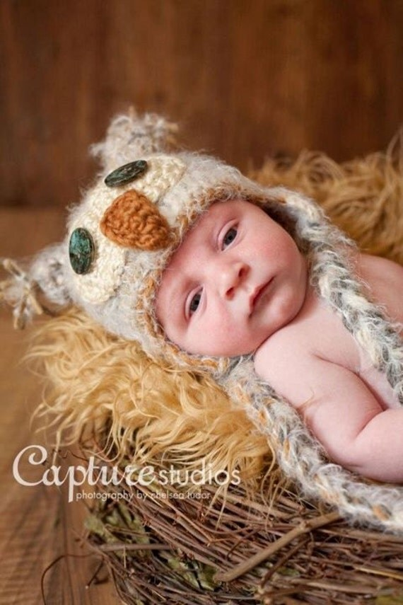 Warm Fuzzy Tan Owl Hat Newborn 3m 6m SOFT Crochet Photo Gift Custom Made Baby Clothes Boys Girls Gender Neutral CHRISTMAS HALLOWEEN Costume