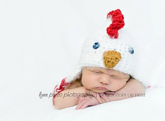 Newborn Crochet Chicken Hat Pattern : Warm Baby Chicken Hat Chick Newborn 3m Easter by ...
