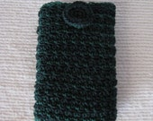 Hand Crochet Cell Phone Case, Cell Phone Cover, iPhone Case, iPod Case, Blackberry Case, Phone Cover, Button Closure, Green