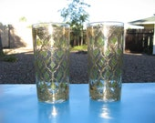 Ornate Gold and Green Vintage Drinking Glasses